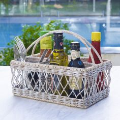 Oliver condiment basket in white wash $39.95 shop it here http://www.oasishomewares.com/host-a-party/book-an-Oasis-party.html