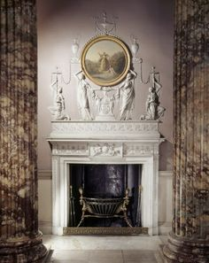 80 Kedleston Hall, Robert Adam, Entrance Hall, mantlepiece and overmantle viewed through colonnade