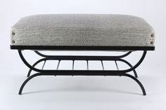 Mid Century Modern Metal-Base Ottoman Footstool Vinyl Covered Padded Top Seat