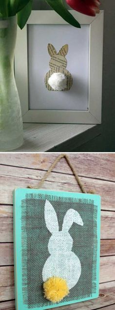 Frame a piece of book page bunny art. Top 27 Cute and Money Saving DIY Crafts to Welcome The Easter