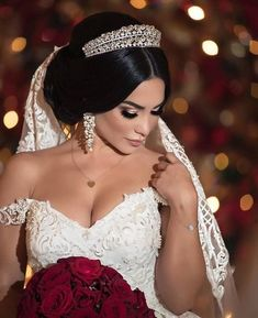 Wedding Hairstyles With Crown, Bride Hairstyles, Bride Makeup, Wedding Hair And Makeup, Princess Wedding Dresses, Dream Wedding Dresses, Wedding Looks, Bridal Looks, Fall Wedding