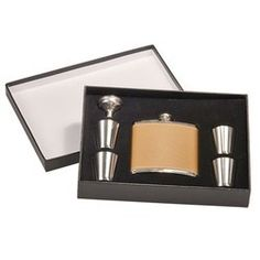When your customers are out at the Mummers Parade this year, will they think of you? Delightful Detail - 6oz Stainless Steel Flask Set - Leatherette - 0308L LASER ENGRAVE - Options