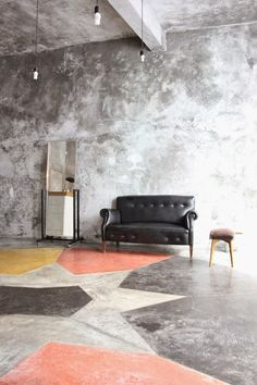 Concrete floors can be dyed in colors, or even in patterns