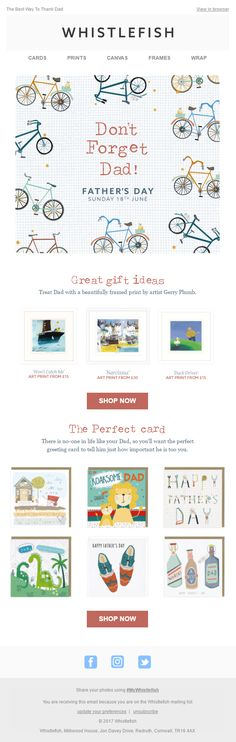 Father's Day email from Whistlefish with gift recommendations Canvas Frame, Canvas Art, Email Design, Affordable Art, Email Marketing, Fathers Day, Great Gifts, Greeting Cards, Art Prints