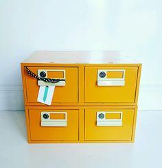 Rare VINTAGE 1980 s Bisley Orange INDEX Filing DRAWERS
