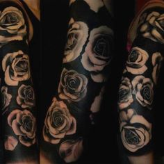 Great roses on blackwork! Credit the artist if you can.
