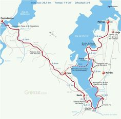 Route Map of Day One, Camino Inglés, Ferrol to Pontedeume, Spain on the Way of St. James.
