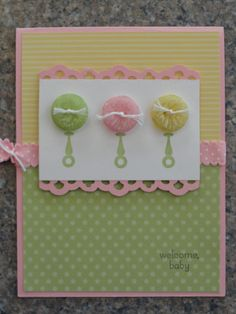 Cute button card LOVE the buttons looking like rattles