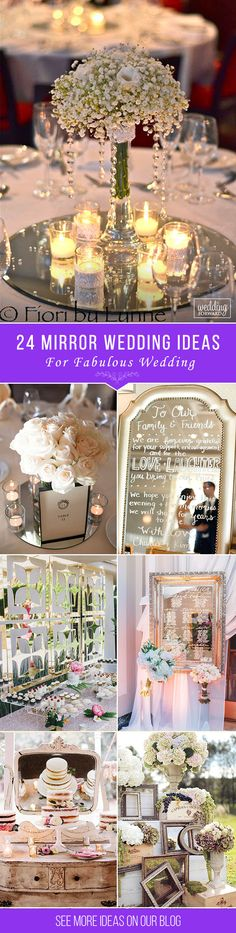 24 Fabulous Mirror Wedding Ideas ❤ Use mirror decorations are the fine way to create an effect in your wedding day. There are many mirror wedding ideas how to use these decor in your reception. See more: http://www.weddingforward.com/mirror-wedding-ideas/ #wedding #decorations