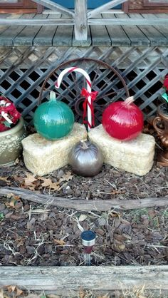 """Do you have left over pumpkins from your fall decorating?  Spray paint them and turn them into """"Christmas Ornaments""""!  Also, when putting out your pumpkins for fall spray them with hairspray - it delays the """"rotting"""" process!"""