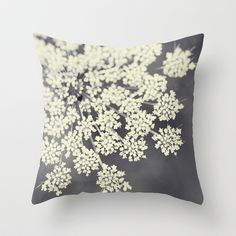 Black and White Queen Annes Lace Throw Pillow by Erin Johnson - Cover x with pillow insert - Indoor Pillow
