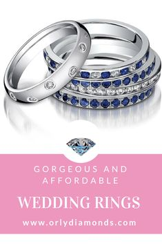 White Gold Diamond and sapphire wedding bands, platinum diamond wedding bands at Orly Diamonds