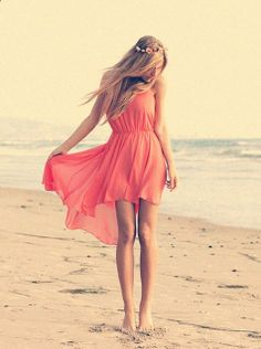 flowing red dress, on the beach with a beachy headband.. okay i'm in