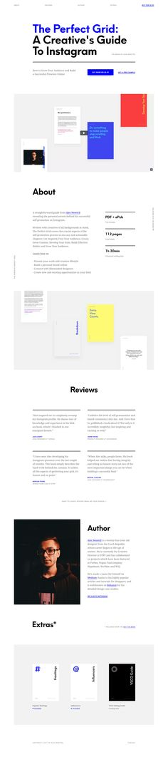 Minimal One Pager with lovely, clear typography promoting Ales Nesetril's new Instagram guide, The Perfect Grid. Cool video too!