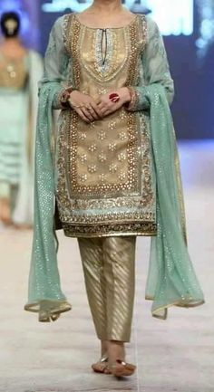 Items similar to Pakistani Wedding Formal Dress- Gold/Light Blue Heavy Dress- Indian, Pakistani, Bollywood Shalwar Kameez on Etsy Pakistani Wedding Dresses, Pakistani Dress Design, Formal Dresses For Weddings, Pakistani Bridal, Pakistani Outfits, Indian Dresses, Indian Outfits, Bridal Dresses, Pakistani Mehndi