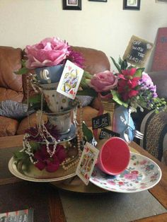 Alice in Wonderland centerpiece for table