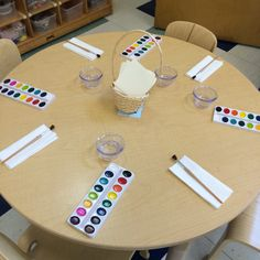 Water color setup at the art table!