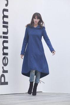 Navy Blue Hoodie Sweatshirt Cotton Fleece Hoodie by Sophiaclothing