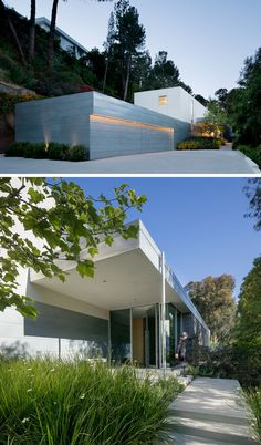 Integrated garage Upon arriving at this modern house, you are greeted by a large garage and a small garden with a path that leads to the glass front door. Modern Architecture House, Modern House Design, Architecture Design, Architecture Portfolio, Beverly Hills, Interior Cladding, Glass Front Door, Front Doors, Garage Doors