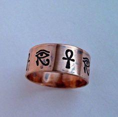 Egyptian Hieroglyph Eye Of Horus and Ankh Copper, Handmade, Egypt.