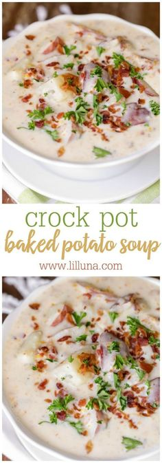 Crock Pot Baked Potato Soup Recipe | lil' luna - The BEST Homemade Soups Recipes - Easy, Quick and Yummy Lunch and Dinner Family Favorites Meals Ideas