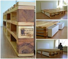 An amazing palletbed with drawers made from discarded wooden pallets, I love the design of this bed!
