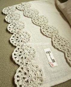 cotton stole with a crochet motif inspiration only, no pattern Crochet Motifs, Crochet Borders, Crochet Trim, Crochet Doilies, Easy Crochet, Crochet Flowers, Crochet Stitches, Knit Crochet, Crochet Patterns