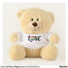 $37.99 - Love and Peace Hippy Love Teddy Bear - by #RGebbiePhoto @ #zazzle - #Peace #Sign #Rainbow - Snuggle up for some fun! Love and Peace Sign in Rainbow colors. Hippy Retro Rainbow gradient peace symbol graphic image. Peace and Love are all around us, you just have to look. Groovy 70s style pop art hippy love. LOVE spelled out with a Peace Sign in place of the O. - Love and Peace Hippy Love Teddy Bear