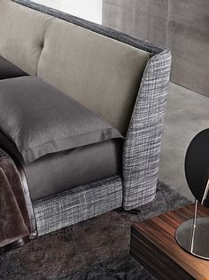 SPENCER - Double bed / contemporary / upholstered / with headboard by Minotti