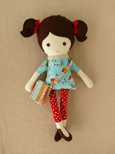 Reserved for Anna N. - Fabric Doll Rag Doll Girl with Satchel. Love the hair, outfit, and bag!!!