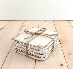 Shabby chic wood coasters, set of 4, rustic white coasters, rustic wedding, home decor, decorative coasters by SageFineArt on Etsy