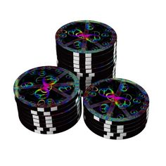 Floating Neon Peace Signs Set Of Poker Chips
