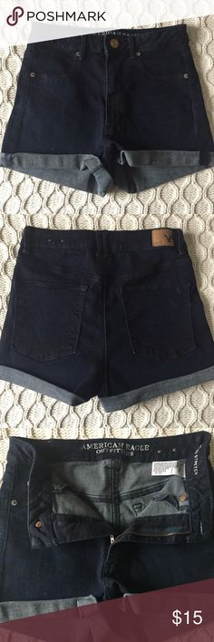 American Eagle Super Stretch High-Waisted Shorts Classic dark denim shorts sit higher on the waist for a flattering look. Stretchy denim material in great condition! Feel free to message with any questions! American Eagle Outfitters Shorts Jean Shorts