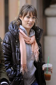 winter style... look stylish in a puffer coat this cold season. #stylemath olivia wilde