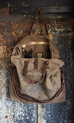 Plümo Ltd Tampa Canvas Tote. *** Would be a GREAT overseas bag next year!!!!  Bags get slammed around on planes and trains!