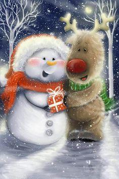 Schneemann - New Ideas Christmas Scenes, Christmas Clipart, Christmas Greeting Cards, Christmas Pictures, Christmas Snowman, Christmas Greetings, Christmas Printables, Winter Christmas, Vintage Christmas