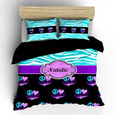 Softball & Zebra Bedding Peace, Heart, Love Turquoise and Purple Combi – TheDezineShop