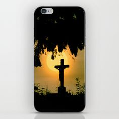 Misty sunrise at the cemetery iPhone Skin