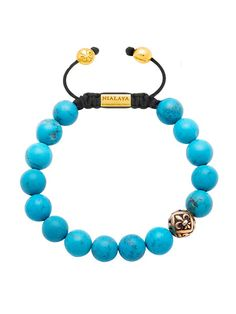 Beaded Bracelet With Larimar and Gold Logo Bead