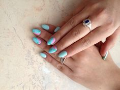 New Nails Blue ?/ FLOWERS /love it