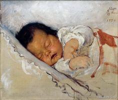 Gyzis Nikolaos, The second child, 1879 (Birth of his daughter Penelope). Name Paintings, Greek Paintings, Portrait Paintings, Portraits, Ecole Art, Greek Art, Historical Art, Vintage Magazines, Conceptual Art