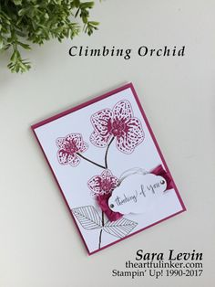 Sara Levin | theartfulinker.com Click the picture to see more of Sara's Designs. A pretty, simple, one layer Climbing Orchid card in Berry Burst. Handmade cards, rubberstamps, cardmaking, stampinup, stamping, saralevin, theartfulinker
