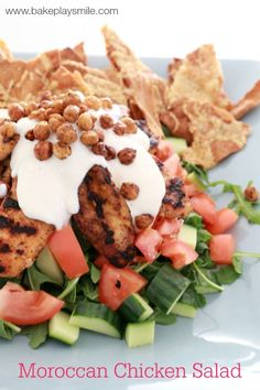 A delicious Moroccan Chicken Salad with cheesy baked pita chips, crispy oven roasted chickpeas and a deliciously creamy greek yoghurt dressing - this salad really does have the wow factor! Oven Roasted Chickpeas, Baked Pita Chips, Whole Wheat Pita Bread, Moroccan Chicken, Chicken Salad Recipes, Mediterranean Recipes, Kids Meals, Cooking Recipes, Salads