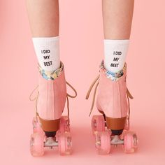 STYLE: i did my best did you do your best at the time with the resources you had? yeah? then kiss that whole self-doubt thing goodbye. wear these custom socks by working girls with our favorite mantra retro kitsch advertising photo art , roller skates and 70's socks
