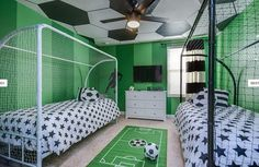 48 What Everybody Is Saying About Stylish Soccer Themed Bedroom Design For Boys and What You Must Do - targetinspira. Boys Football Bedroom, Football Rooms, Boy Sports Bedroom, Boys Bedroom Decor, Childrens Room Decor, Boys Sports Rooms, Twin Bedroom Ideas, Cool Kids Bedrooms, Kids Bedroom Designs