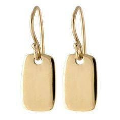 small gold tab drop earrings
