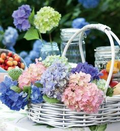 Lovely basket and flowers on the patio