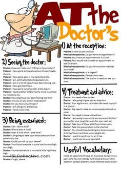 Useful expressions to use when we go to a doctor.I divided this ws into 5 parts:Different stages of a doctor visit(the expressions we use at each stage) and a useful vocabulary part which includes some related words and phrases.I will prepare and upload an exercise worksheet related to this topic soon. - ESL worksheets