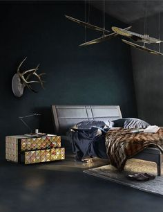Bedroom Ideas | Pixel Nightstand from Boca do Lobo and Coltrane Suspension Ceiling Lamp from DelightFULL See more: https://www.brabbu.com/en/all-products.php