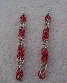 Silver Plated and Red Viking Knit Earrings on by BraceletsByJoy